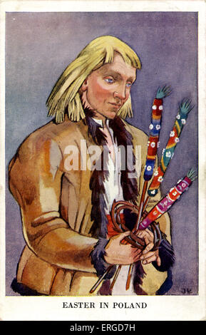 Easter in Poland: Peasant from Vilno, c.1942. Shows a man dressed in peasant clothes from Vilno, North East Poland - Stock Photo