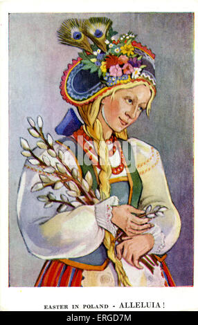 Easter in Poland: Girl from Kurpie, Ostrolenka. c.1942. Shows a woman dressed in costume from Kurpie, Central Poland. - Stock Photo