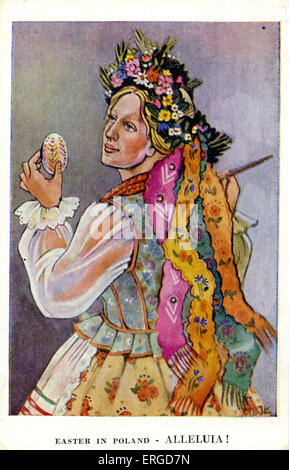 Easter in Poland: Girl from Krakow, South Poland. c.1942. Shows a woman dressed in costume from Krakow. She is holding - Stock Photo