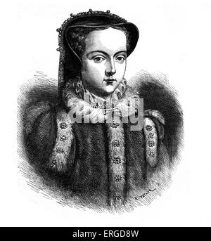 Mary I. Daughter of King Henry VIII and Catherine of Aragon. Queen of England and Ireland (1553-1558) : 18 February - Stock Photo