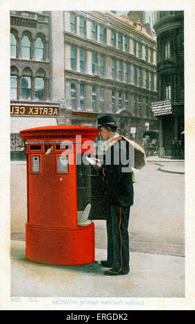 Postman making a collection, London. Postman in Victorian(?) uniform collecting post from a London postbox. - Stock Photo