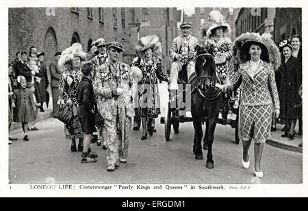 Pearly Kings and Queens in Southwark, London. The Pearly Kings and Queens is a working class organisation which - Stock Photo
