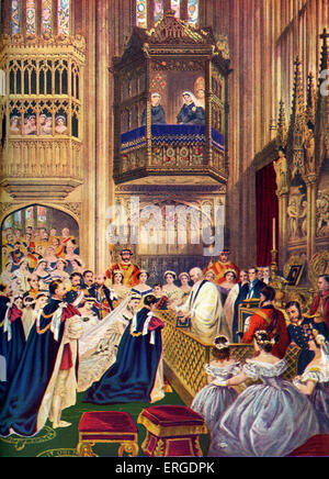 Prince of Wales marriage to Alexandra of Denmark - 10 March, 1863, St. George 's Chapel, Windsor. Future Edward - Stock Photo