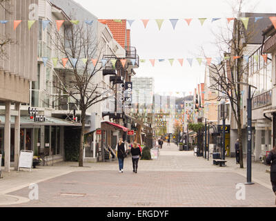 Langgata main shopping street in the town Sandnes, Rogaland Norway, colourful pedestrian area - Stock Photo