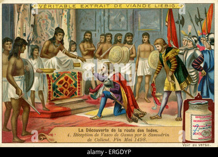 Vasco de Gama is received by King of Calicut, India  the Saamoothiri (Zamorin), end of May 1498. .  Liebig Company - Stock Photo