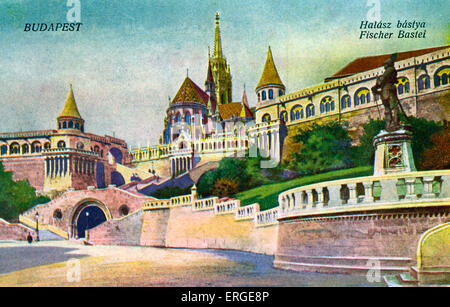 Fisherman's Bastion (Halászbástya), Budapest, Hungary. Terrace in neo-Gothic and neo-Romanesque style situated on - Stock Photo