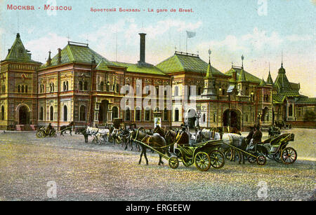 Belorussky Railway (station), Moscow, Russia. Formerly known as Brest station (French: 'La gare de Brest'). Built - Stock Photo
