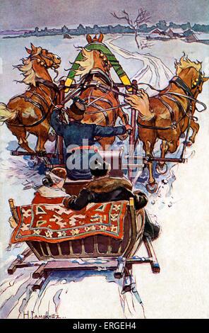 Russian horse - drawn sleigh, c. 1905. - Stock Photo