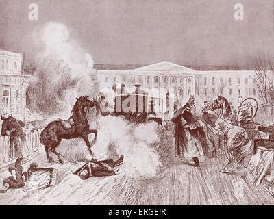 Alexander II 's assassination on 13 March 1881 in St Petersburg. Bomb thrown by Ignaty Grinevitsky, member of Narodnaya - Stock Photo