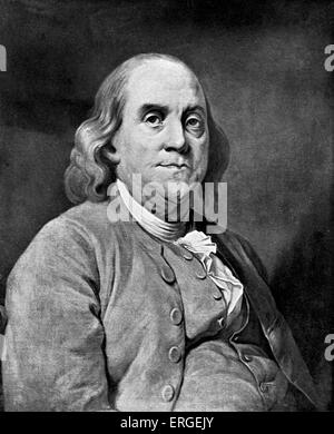 FRANKLIN, Benjamin - portrait Great American statesman, scholar and inventor. Invented the glass 'armonica'. (1706 - Stock Photo