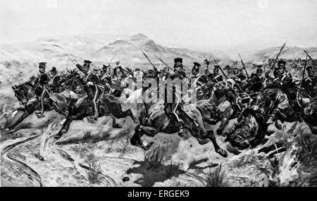 The Charge of the Light Brigade at Balaclava,  25 October 1854. From engraving after painting by Richard Canton - Stock Photo