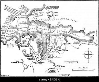 Siege of Sevastopol - map of British defence. Siege during Crimean War, lasting from September 1854 until September - Stock Photo