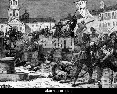 Street fighting in Malaga, Spain during Glorious Revolution (La Gloriosa), 1868. Led to deposition of Queen Isabella - Stock Photo