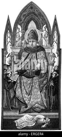 St. Augustine, Bishop of Hippo (from illustration by Italian Scool of 15th century). Wearing dress of his order - Stock Photo