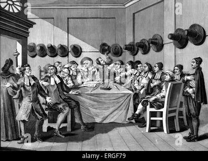 Hudibras - Plate IX - The Committee by William Hogarth. WH: English artist - 1697 -1764. - Stock Photo