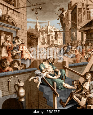 Gin Lane -  caricature by William Hogarth, circa 1750. WH:  English painter and artist, 10 November 1697 -October - Stock Photo