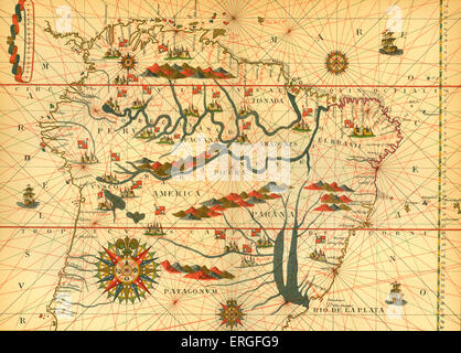 Map of South America - from reduced reproduction of map in Spanish atlas by Joan Martinès at Messina, 1582. - Stock Photo