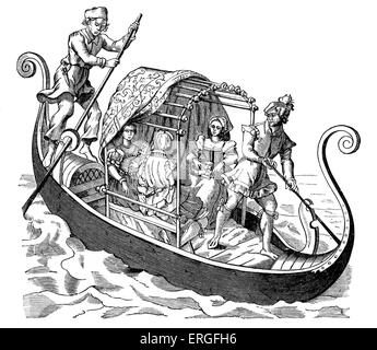 Venetian Gondola - from 'The Grand Procession of the Doge of Venice', attributed to Jost Amman. Published in Frankfurt, - Stock Photo