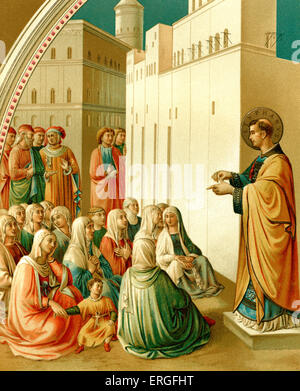 St. Stephen preaching - from fresco painting by Fra Angelico in the chapel of Nicholas V, in the Vatican, Italy. 15th century.