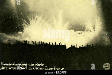 World War I: American artillery  attack on German line, France (Western Front). Night view. Postcard. - Stock Photo