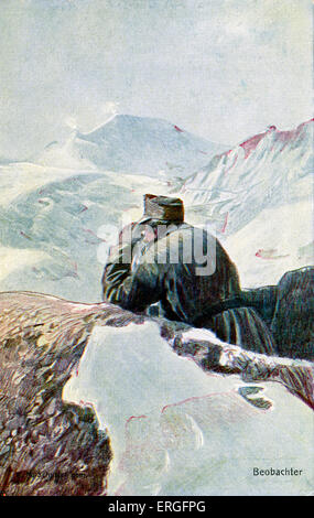 German observer  in the snow, during World War I. Post card of German Red Cross '  'Kriegsfürsorgeamt'. - Stock Photo
