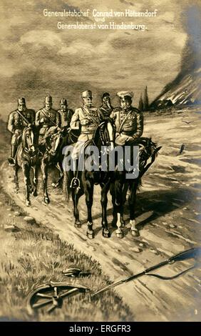 Franz Conrad von Hötzendorf and Paul von Hindenburg during World War I. FCH: Austrian soldier and Chief of the General - Stock Photo