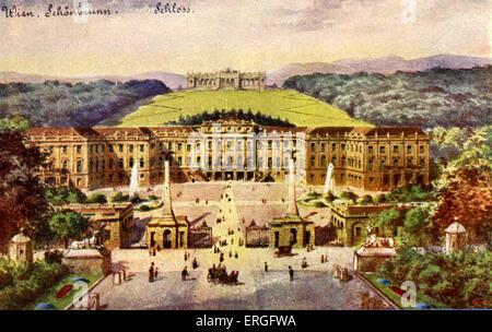 Schönbrunn Palace (Schloss), Vienna, Austria. Former Imperial summer residence. - Stock Photo