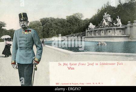 Kaiser Franz Joseph in Schönbrunn Palace Park, Vienna, Austria. 1909. Franz Joseph I of Austria, Emperor of Austria, - Stock Photo