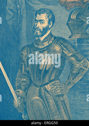 Charles V  - portrait of Holy  Roman emperor 24 February 1500 - 21 September 1558. Known as Carlos I de España y - Stock Photo