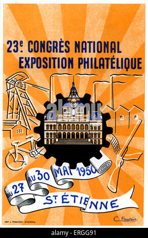 23rd French National Congress Philatelic Exhibition, 27 - 30 May 1950, St Etienne, France. Philately, study of stamps - Stock Photo