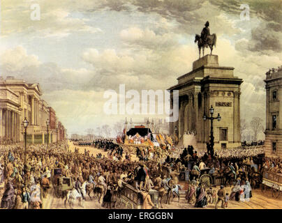 Funeral of Arthur Wellesley, 1st Duke of Wellington. From coloured lithograph by T. Picken after Louis Haghe.  State - Stock Photo