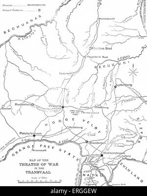 The First Anglo-Boer War (1880–1881): Map of the theatre of war in the Transvaal (South Africa). Rebellion of Boers - Stock Photo