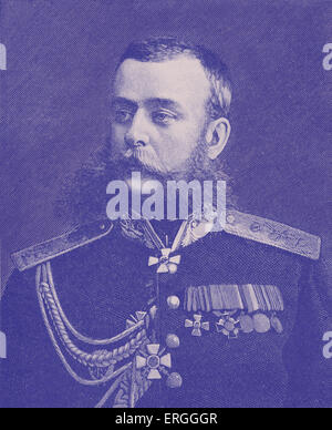Mikhail Skobelev - portrait after photograph by Charles Bergamosco, St. Petersburg. Russian general known  for his - Stock Photo