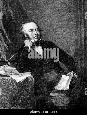 Sir Rowland Hill in 1847   portrait. English teacher, inventor and social reformer. Campaigner for postal system - Stock Photo