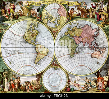 Map of the World   - published in Schenck 's 'Atlas Contractus', 1713. - Stock Photo
