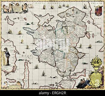 Zealand, Denmark -  published in Schenck 's 'Atlas Contractus', 1713. Largest island of Denmark. - Stock Photo