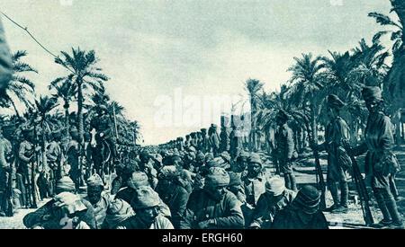 World War 1: British Advance in Mesopotamia. Turkish prisoners captured during progress of Kut Relief Force. April - Stock Photo