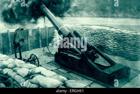 World War 1: Italian 12- inch artillery gun. Positioned on south- west Austrian border in the Italian Alps. 1916. - Stock Photo