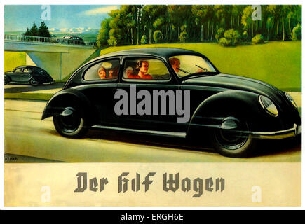 Volkswagen Advertisement, 1930s. Caption: 'Der kdf Wagen'/ 'The kdf Car'. Kdf stands for 'Kraft durch Freude' ('Strength - Stock Photo
