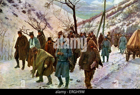 World War 1: Wounded Serbian prisoners being marched through the Ibar Valley. World War of 1914 - 1916. (Hungarian: - Stock Photo