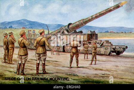 World War 1: British railway mounted artillery gun (siege gun). War Bond Campaign Postcard. Issued in connection - Stock Photo