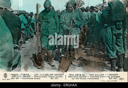 World War I:  Turkish prisoners in Seddul Bahr being Guarded by Greek Volunteers. May 1915. Allied Forces in the - Stock Photo