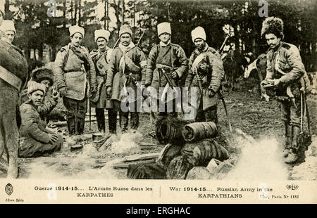 World War 1: Russian Army in the Carpathian Mountains, 1914/15. Central/Eastern European mountain range. French - Stock Photo