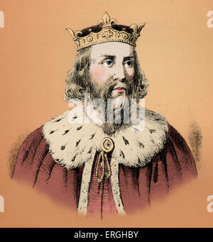 Alfred the Great (849 – 899) was king of the southern Anglo-Saxon kingdom of Wessex from 871 to 899. Alfred is noted - Stock Photo