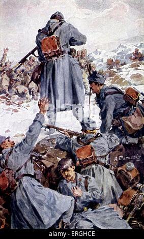 World War 1: Josef Markovic firing at Serb army. German Red Cross postcard. Army of Austria- Hungary. Die Warasdiner - Stock Photo