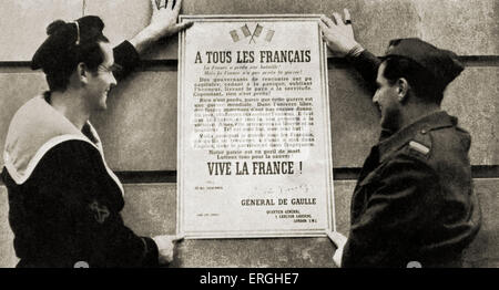 World War 2: General de Gaulle's first manifesto: 'A tous les Français' ('Too all Frenchmen/ French People'). Exhortation - Stock Photo