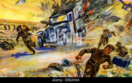 World War 2: Desert War in North Africa. German postcard. Caption: Wüstenkrieg in Nord- Afrika. Die deutsche Luftwaffe - Stock Photo