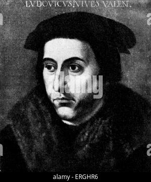 Juan Luis Vives - from painting by a unknown master. Valencian Spanish scholar and humanist, 6 March 1493 – 6 May - Stock Photo
