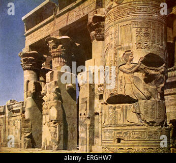 Egypt-  temple of Kom Ombo. Caption reads: 'Main entrance to the temple of Kom Ombo' . Double temple built during - Stock Photo