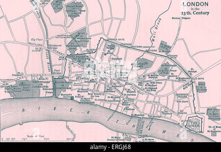 Topographical map depicting London in 13th Century. Printed by Walker and Boutall sc. Emery Walker (D. 1933) - Stock Photo